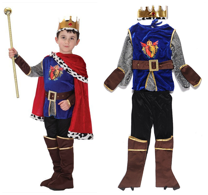 Halloween Children Boy Fairy Snow White and the Seven Dwarfs Pince Charming Costume with cape Boy Prince Cosplay suits