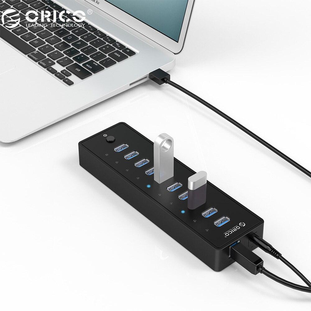 Orico P10-U3 10 Порты и разъёмы USB 3.0 хаб с 3.3ft/1 м USB3.0 кабель VL812 чипсетов и Адаптеры питания-черный