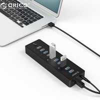 ORICO Black USB 3 0 10 Ports VL812 Chipsets HUB With Power Adapter