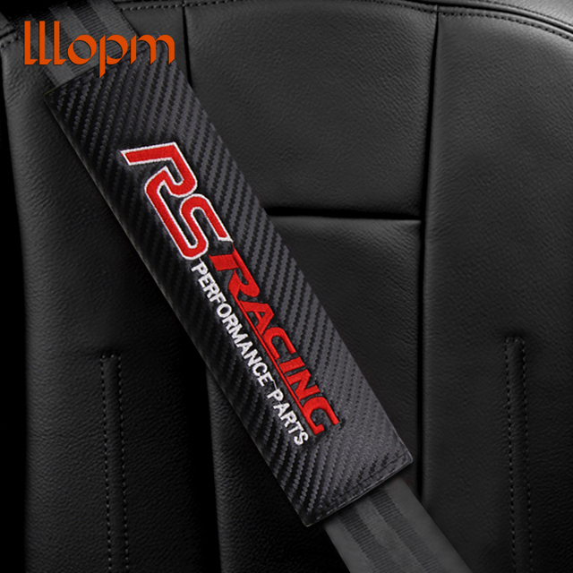 1pcs Carbon fiber seat belt Protection cover Car badge shoulder pad For RS Racing performance parts logo Car styling Accessories