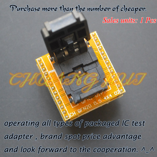 IC TEST QFN20 to DIP20 Programmer Adapter Pitch=0.5mm DFN20 MLF20 WSON20 ic test socket