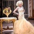 Abendkleider Lang Mit Arm Arabic Evening Dresses Gorgeous Long Robe De Soiree Crystal Evening Gowns Bead Evening Dress Gold