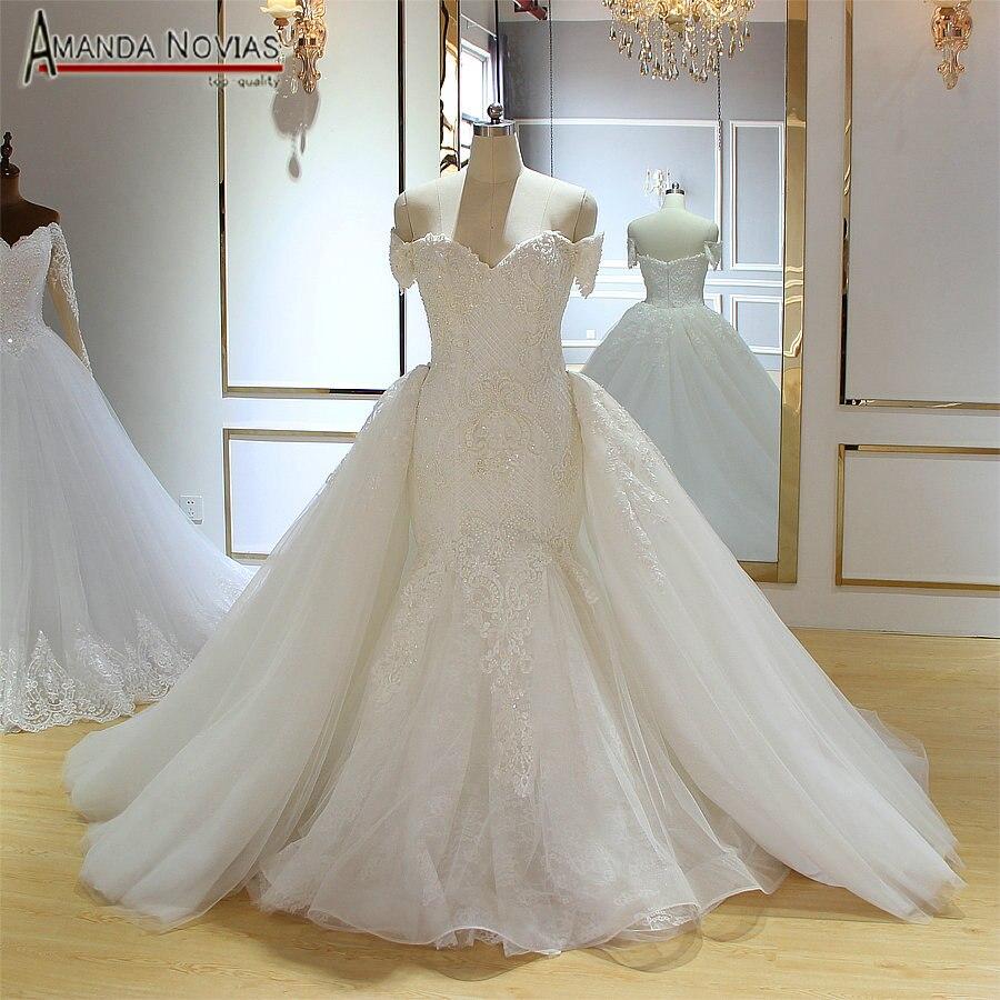 Off the shoulder straps plus size mermaid wedding dress with detachable train