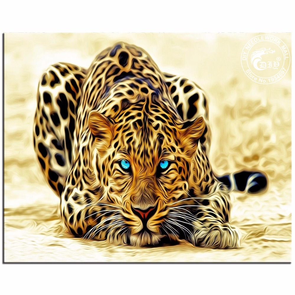 3D Diamond Embroidery Animals Blue Eyes Tiger Cross Stitch Sewing Knitting Needles Pictures Of Rhinestones Hobbies