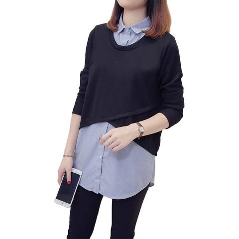 Nkandby Plus size Femme Striped Patchwork Shirts 2018 Autumn Korean Fake two piece Blouses For Women Loose 5XL 4XL Oversized Top Lahore
