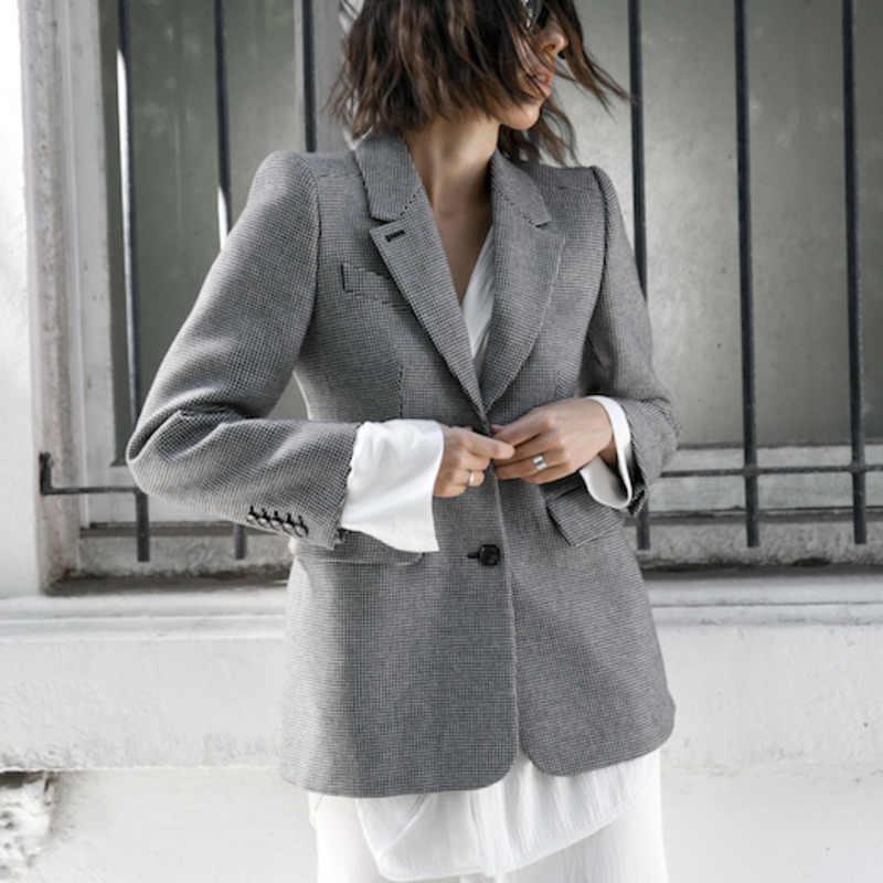 [EAM] 2019 Новое Осеннее клетчатое пальто средней длины с длинным рукавом и воротником-стойкой, с карманами и пуговицами, женская модная одежда OA817