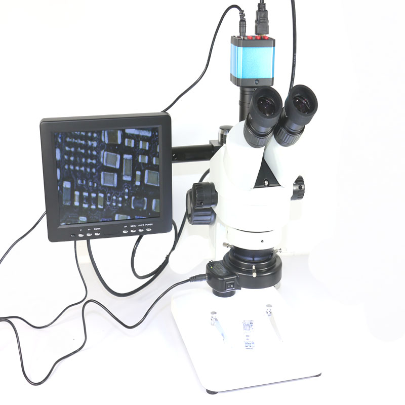 Simul-Focal 3.5X-90X Trinoculaire Industral Inspection Zoom Stéréo Microscope + 14MP HDMI C-montage Caméra + 8 HD LCD Moniteur