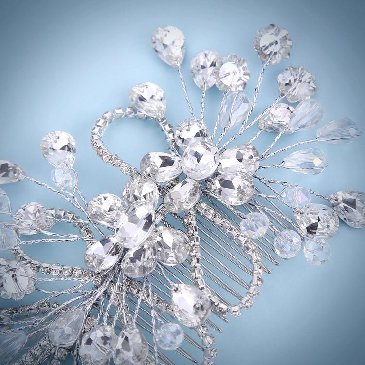 JaneVini Shiny Rhinestone Hair Tillbehör Crystal Hair Tiaras för - Bröllopstillbehör - Foto 2