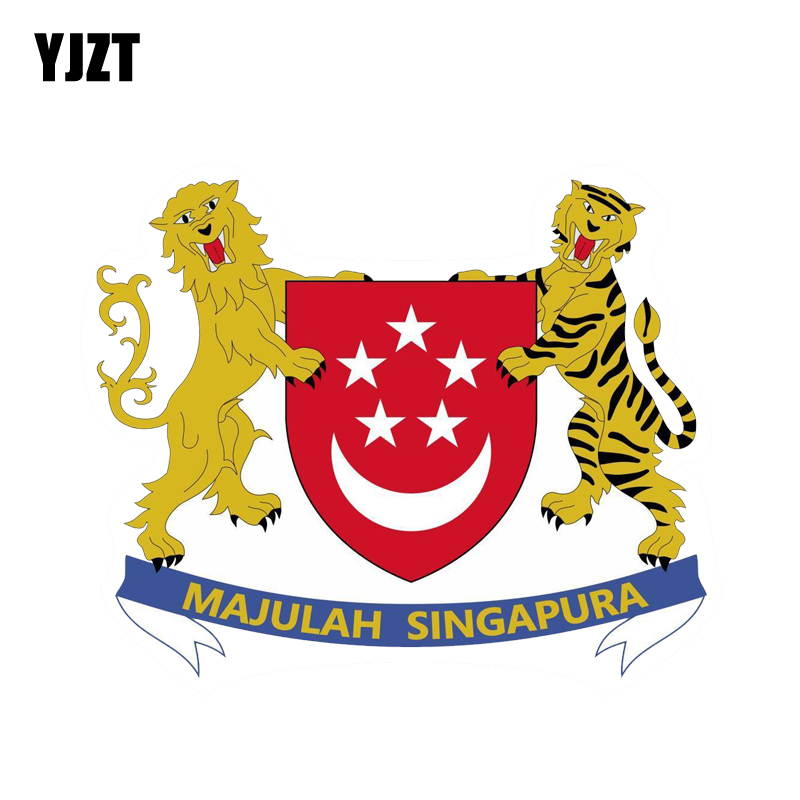 YJZT 12.6CM*10.1CM Car Styling Singapore Flag Car Sticker Shield Coat Of Arms PVC Decal Accessories 6-2117