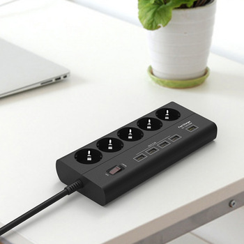 2019 Free Shipping 5 outlet 5 USB Power Strip Surge Protector Quick Charge 3.0 USB port EU extension socket Power board