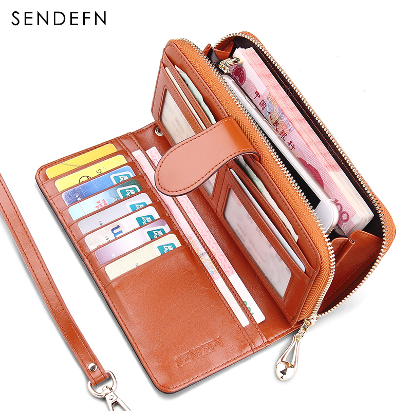 SENDEFN Vintage Leather Women Wallet Long Coin Pocket Purse Phone Wallet Female Card Holder  Female Pures Lady Clutch large capacity women wallet leather card coin holder money clip long clutch phone wristlet trifold zipper cash female purse