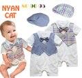 3 pçs/lote bebê cavalheiro menino de 2 cor de manga curta de algodão cinta empate romper infantil criança desgaste formal roupas smoking chapéu terno