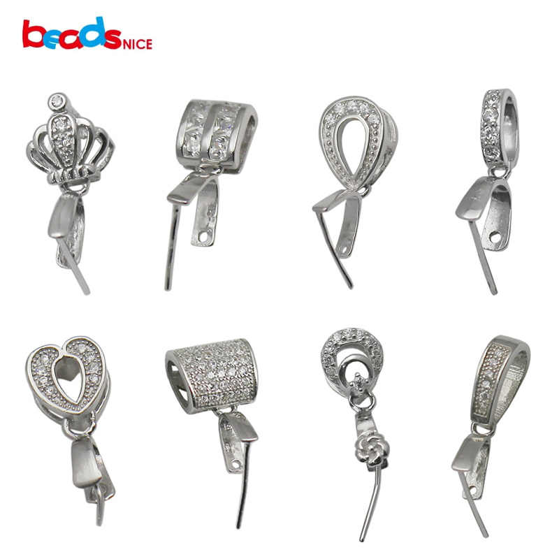Beadsnice Solid Silver 925 Bail Connectors Silver Pinch Bail จี้สำหรับ DIY ปรับแต่งจี้ทำ ID34622