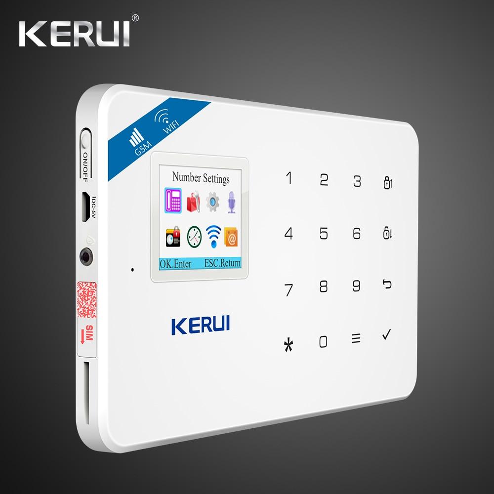 KERUI W18 WIFI GSM SMS Home Burglar Security Alarm System Curtain Motion Sensor  Wireless Solar Siren Wireless Smoke Sensor 1