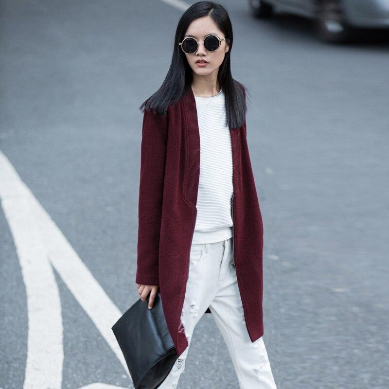 Amii Minimalist Casual Women Woolen Coat 2018 Winter Solid Wide-waisted Zipper Female Wool Blends
