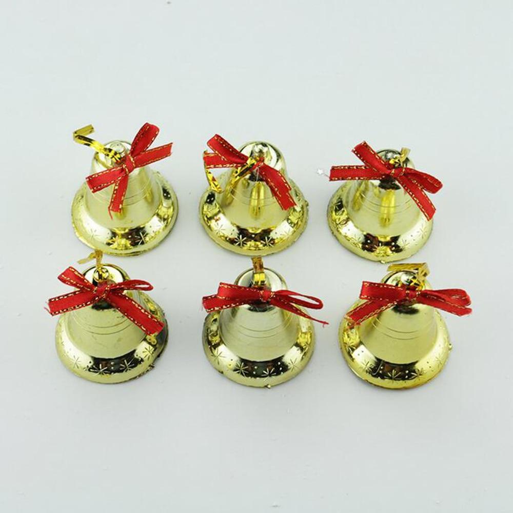 6Pcs Golden Bells Christmas Tree Ornaments Festive Golden Bell Christmas Decoration 2018 New Arrival Hot Sale 1
