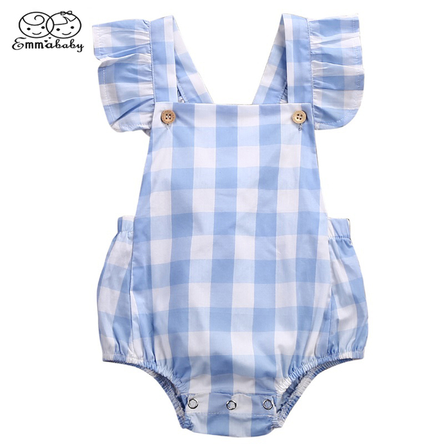 c44797df9367 Emmababy Infant Baby Girl Clothes Summer Ruffled Sleeves Blue White Plaid Baby  Romper Newborn Toddler Kids Jumpsuit Outfits 0-18