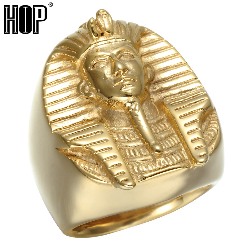 HIP Hop Rock Casting Iced Out Gold Color Titanium Stainless Steel Sphinx Egypt Pharaoh King Rings for Men Jewelry