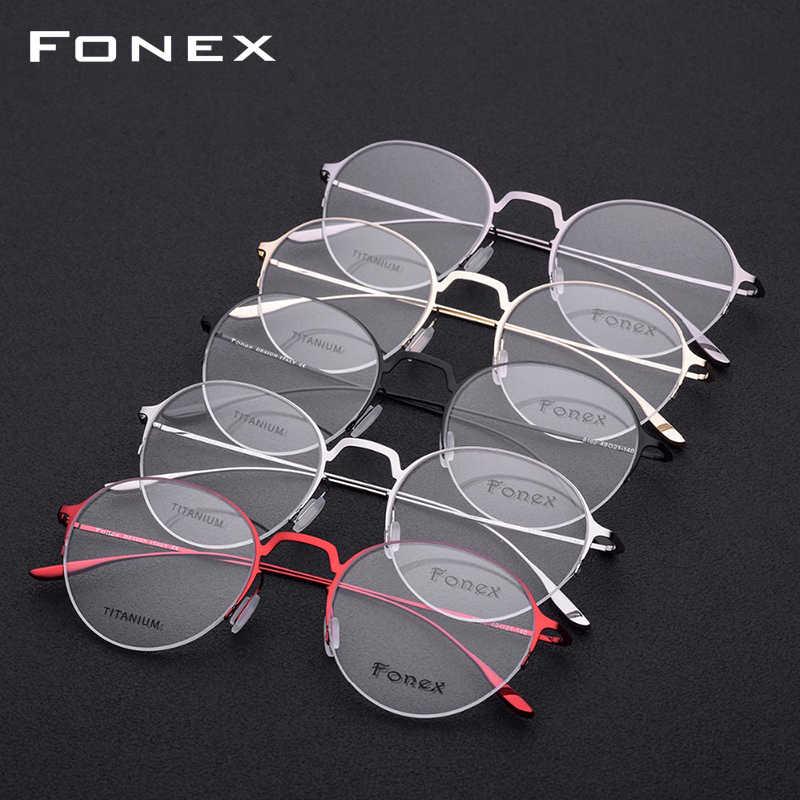 FONEX Titanium Alloy Glasses Frame Women Semi Rimless Prescription Eyeglasses Myopia Spectacle Half Rim Men Optical Eyewear 8102