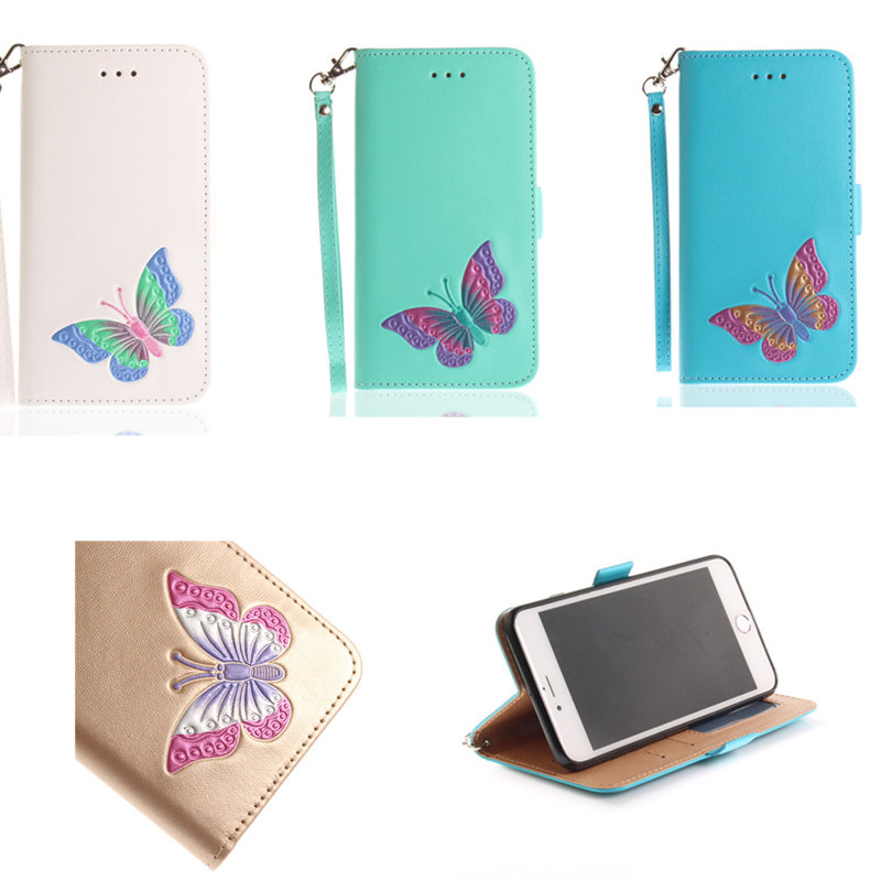 PU Leather Phone Flip Stand For iPhone X Butterfly Case Wallet Soft Cover For iPhone 5 5S SE 6 6S 7 8 Plus X Shell Capa Cases