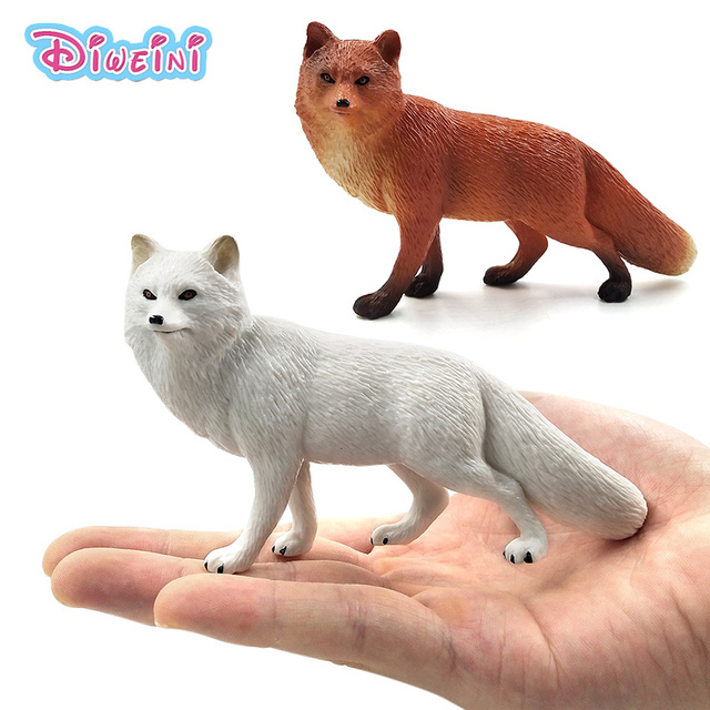Cute Simulation White Red Fox Figure Animal Model Home Decor Figurine Fairy Garden Decoration Accessories Modern Statue Toys
