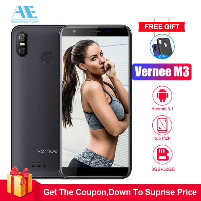 Vernee M3 5.5'' Full Screen Android 8.1 Smartphone 3GB 32GB Quad-core Cellphone 3300mAh Face ID Fingerprint 4G LTE mobile phone