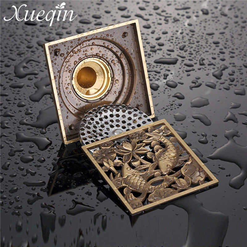 Xueqin Antique Brass Bathroom <font><b>Floor</b></font> Drain Square Shower Waste Water Strainer Tile Insert 10X10X4.5cm Bathroom Sink Accessories