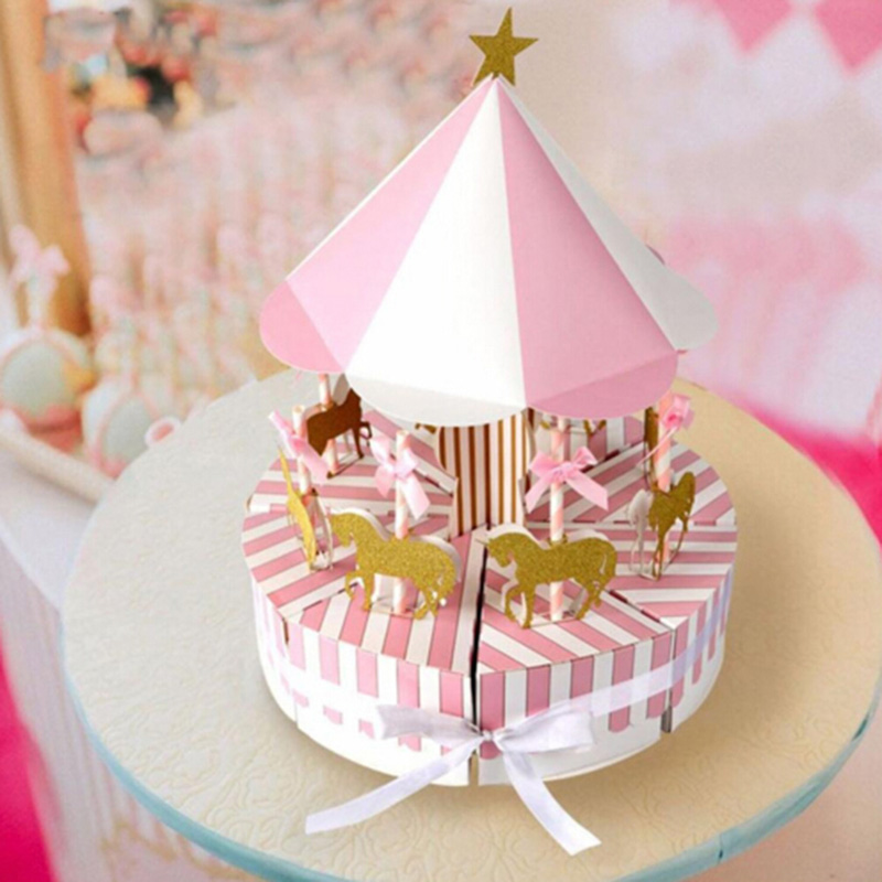 Homemade Wedding Gifts For Guests: Creative DIY Paper Carousel Gift Box Wedding Favors