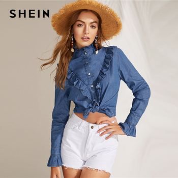 631b91903d SHEIN azul Ruffle Trim Denim volantes de cuello alto camisa de manga larga  de las mujeres de la primavera de 2019 botones sólido elegante Boho blusas