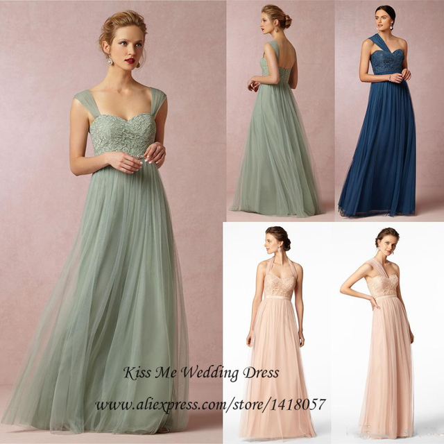 Green and Navy Bridesmaid Dresses