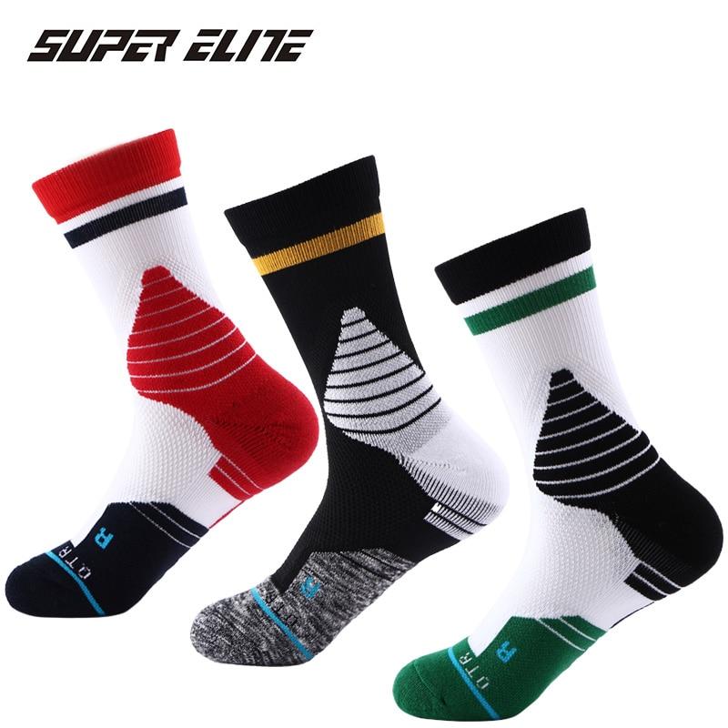 Super Elite 1 Pairs Professional Sports Socks Long High Tube Terry Classic Black and White Basketball Socks Anti Slip Sock Sport hockey sock