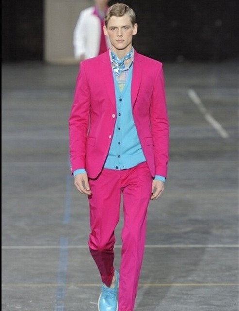 New Style Groomsmen Notch Lapel Groom Tuxedos 2017 Hot Pink Men Suits Two Buttons Wedding Best Man (Jacket+Pants+Tie)