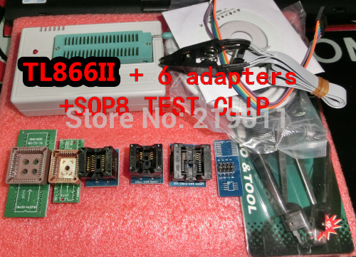 TL866II PLUS  Universal Programmer Support Over 13000 Chips USB Programmer with 6PCS Socket and SOP8 TEST CLIP FREE SHIPPING