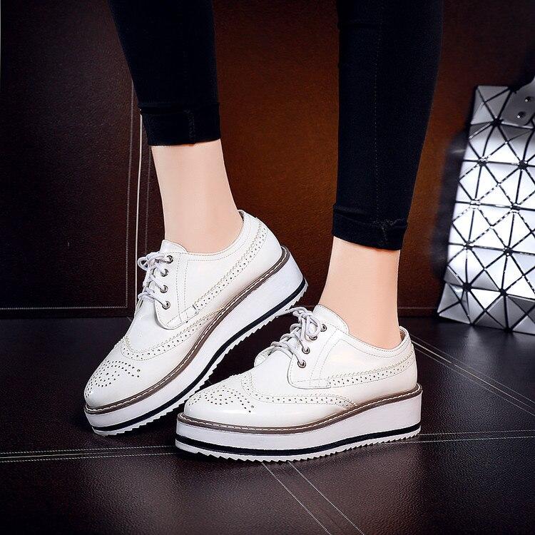 Semelles Femmes 43 De Vent blanc Chaussures argent À forme 40 Noir Britannique Épaisses Plat Brock Grande 2016 41 Dentelle Automne Fond Plate Taille Simples qnUHxwRUE8