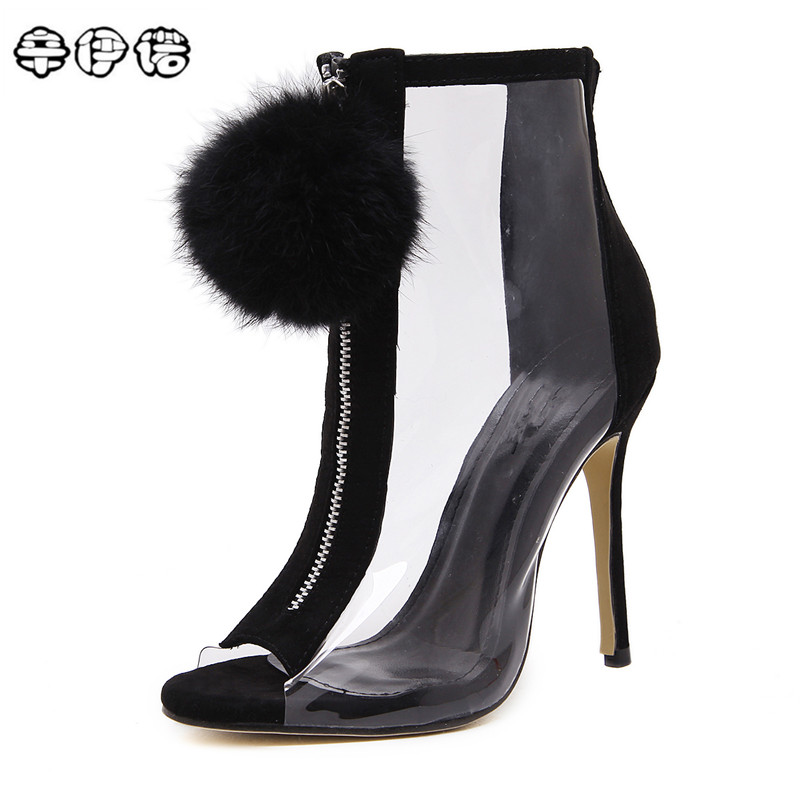 Women High Heel Peep Toe Transparent Clear Ankle Boots Summer Sexy Fluff Ball Gladiator Sandals Bootie Shoes Stilettos Black timesize women clear heel transparent boots peep toe ankle boots bootie perspex lucite summer shoes sandals block heel pumps