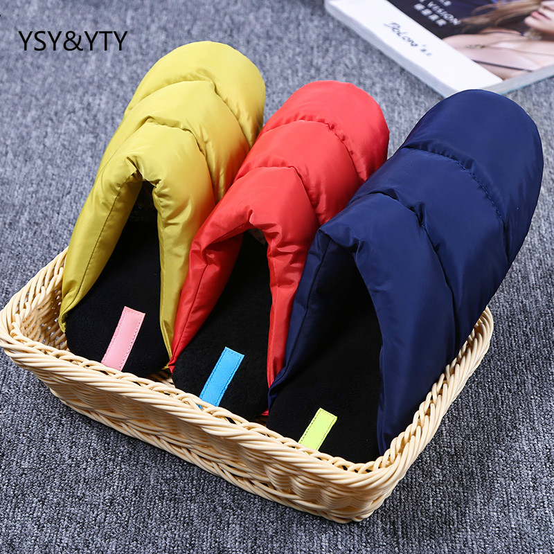 2019 new Light down waterproof fabric cotton men slippers indoor silent wood floor household slippers shoes woman