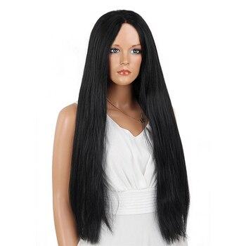Élément Kanekalon Synthétique Cheveux 28 Pouce Longue Perruque Avant de Lacet Yaki Droite 1B Noir Perruque pour les Femmes Afro-américaines Livraison gratuite