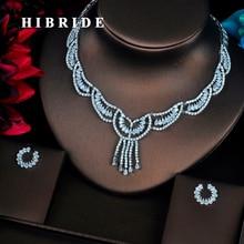 HIBRIDE Luxury Design Full AAA Cubic Zirconia Women Dubai Jewelry Sets Wedding Bride Dress Accessories Wholesale Price N-367