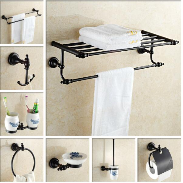 Free shipping,solid brass Bathroom Accessories Set, Black Robe ...
