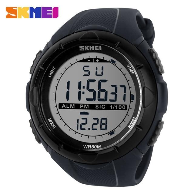 SKMEI 1025 Men Military Watch Outdoor Sport LED Digital Watches 50m Waterproof Climbing Fashion Alarm Clock Casual Wristwatches