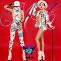 Moda Nuevo Estilo de la Pintada de las mujeres Chaqueta Blanca Chaqueta Corta Pantalones Trajes Desgaste de la Etapa Dancewear Traje Trajes Cantante Femenina
