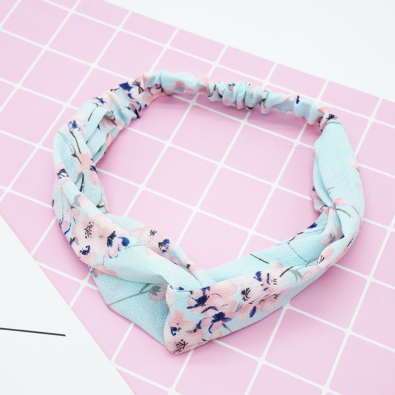 2019 Women's Fashion Flower Spring Summer Chiffon Headbands Floral Wide Bands Turban   Headwear   Headwrap New Hair Accessories