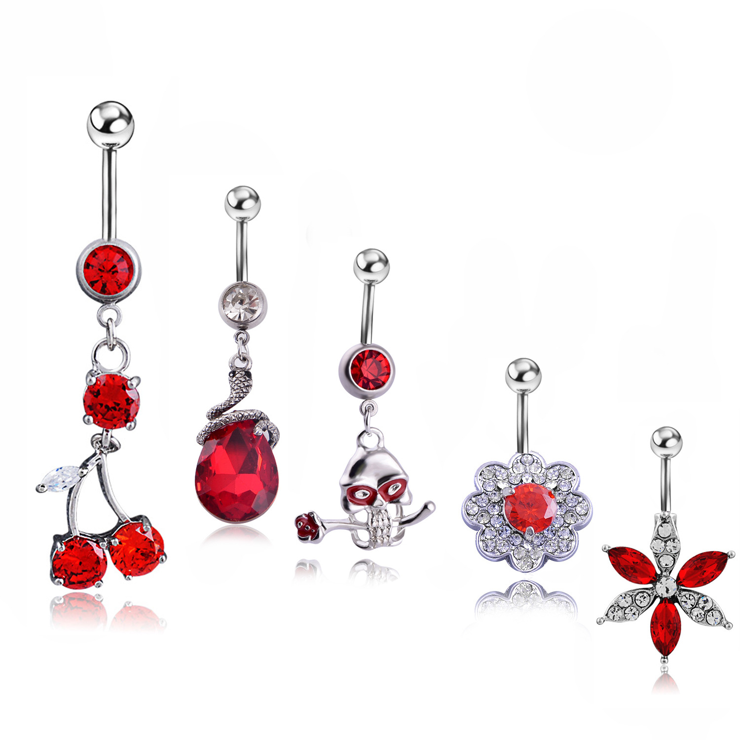 5pcs Set Red Zircon Cherries Belly Button Ring Medical Steel Anti-allergic Body Piercing Sexy Lady Navel Nail Piercing Jewelry