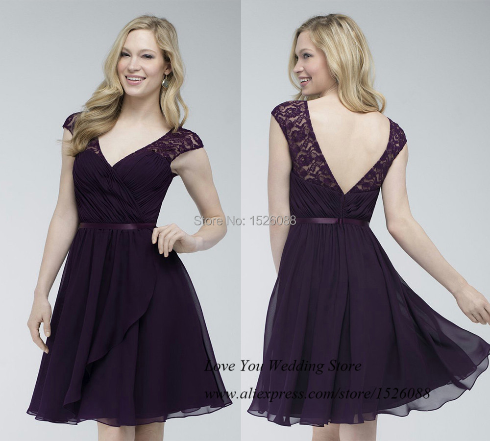 Cheap dark purple bridesmaid dresses lace v neck back chiffon cheap dark purple bridesmaid dresses lace v neck back chiffon short dress to party cap sleeve vestido de festa curto in bridesmaid dresses from weddings ombrellifo Images