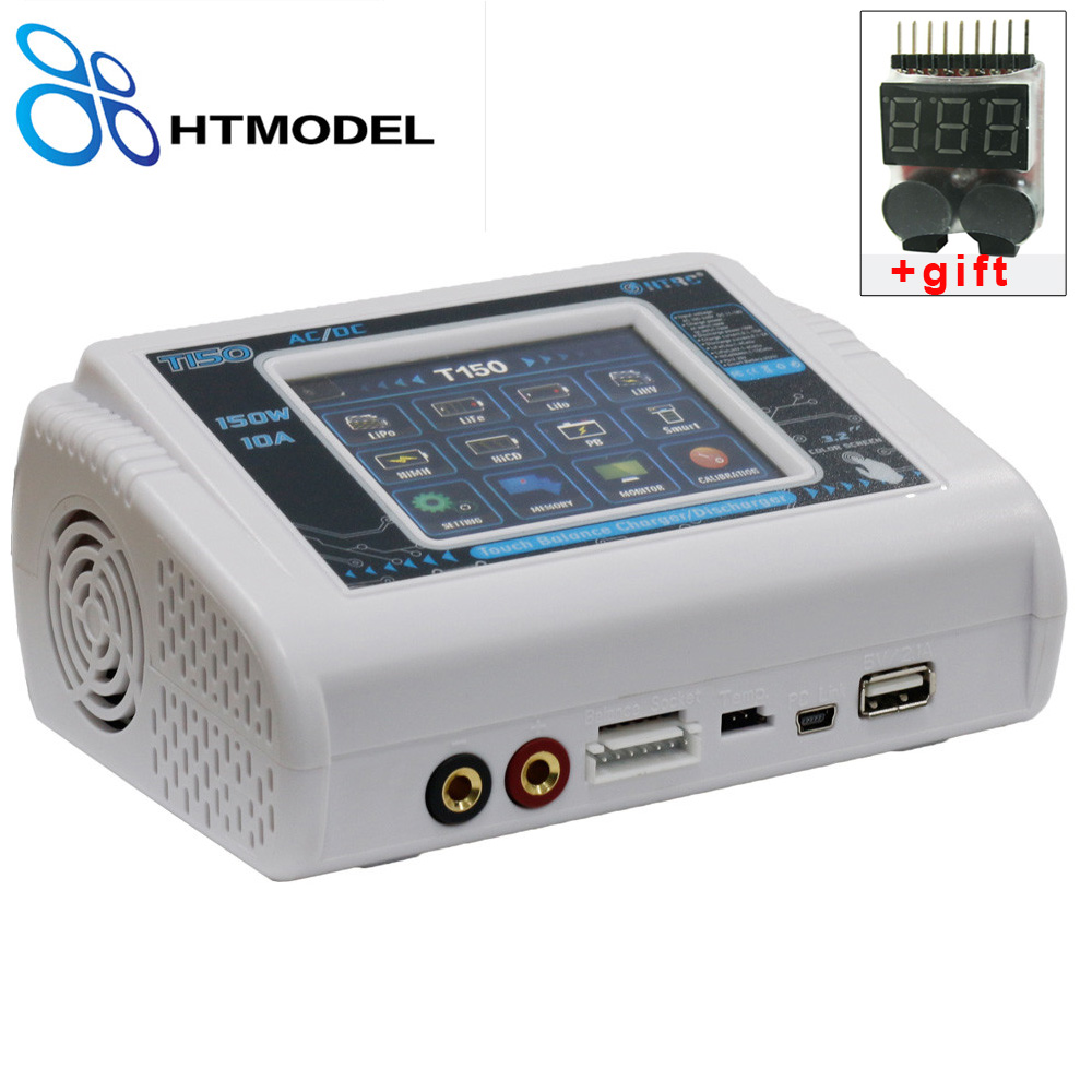 HTRC LiPo Charger T150 AC/DC 150W 10A Touch Screen RC Balance Charger Discharger for LiPo LiHV LiFe Lilon NiCd NiMh Pb Battery