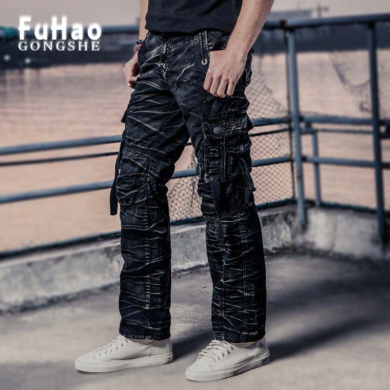 FUHAO 2017 New Mens Cargo Pants Joggers Pants  Military Style Casual Hip Pop Trousers Military Pantalon Homme 3235-1