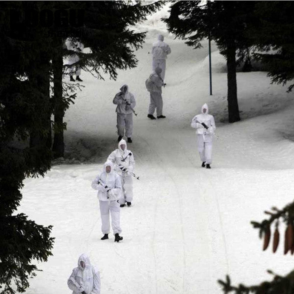 Winter Camouflage Hunting Ghillie Suit Snow White Camo Net