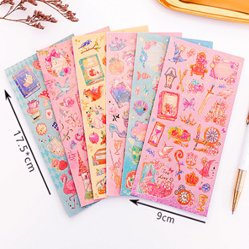 Купить с кэшбэком 30pcs/pack Romantic Fantasy Beautiful Fairy Tale World Princess Flower Decoration Hot Stamping Stickers Six Selection