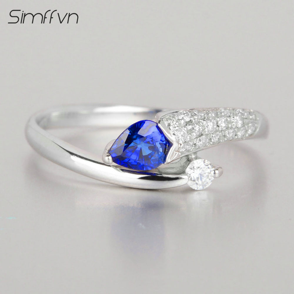 Romantic Style 045ct Sapphire Gemstone Ring With Natural Diamond Band  Stamped By Pt900 Platinum Fine