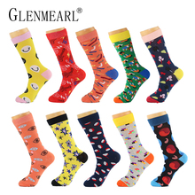 10 Pairs/Lot Men Socks Combed Cotton Brand Spring Fall Plus Size Quality Business Coolmax Pattern Funny Happy Dress Male